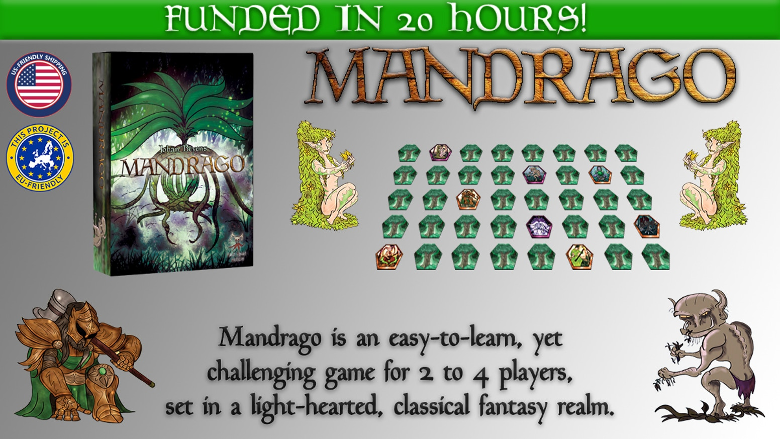 Mandrago is an easy-to-learn, yet challenging game for 2 to 4 players, set in a light-hearted, classical fantasy realm. EU/US Friendly.