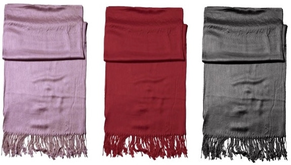 PASHMINA - A beautiful, lightweight, super soft Pashmina scarf that's a perfectly stylish wrap on cool days. Available in lilac, red wine, and charcoal black.