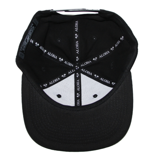 9aa707f9ab7 ... Black hat with camo brim. Spreading a little Aloha on all snapbacks on  the inside of hats.