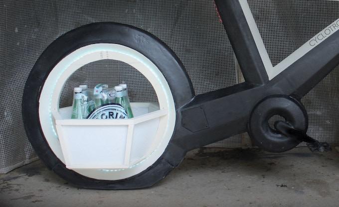 Actual prototype of Polygon Basket on back wheel