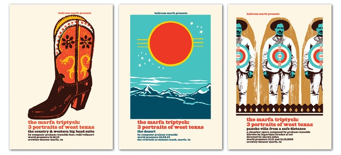 Posters for The Marfa Triptych designed by Noel Waggener