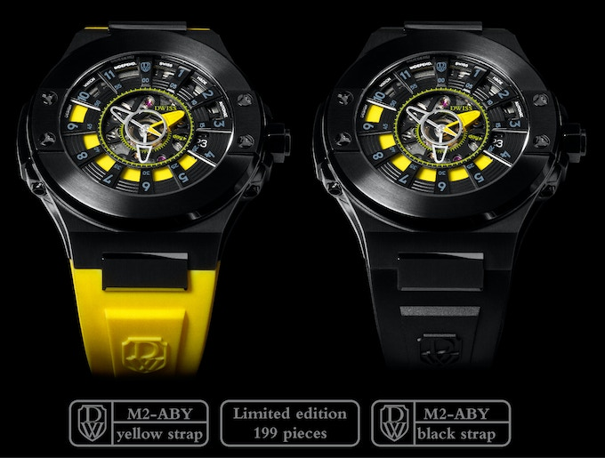 DWISS M2-ABY Stainless Steel IP black coating with yellow accents. Yellow or black strap.