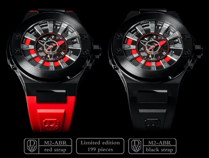 DWISS M2-ABR - Stainless Steel IP black coating with red accents. Red or black strap