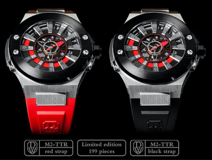DWISS M2-TTR Stainless Steel with IP black coating topring with red accents. Red or black strap