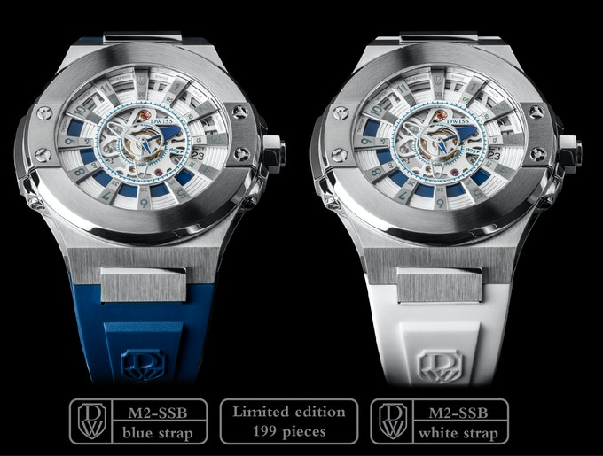 DWISS M2-SSB Stainless Steel with blue accents.Blue or white strap.