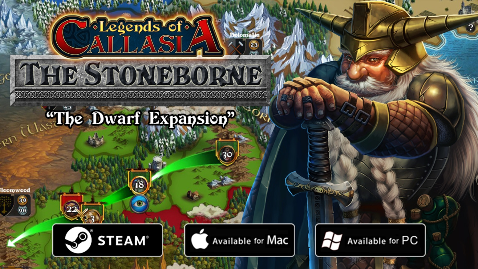 Legends of Callasia: The Stoneborne is an expansion for the strategy game Legends of Callasia with a new playable faction: the Dwarves!