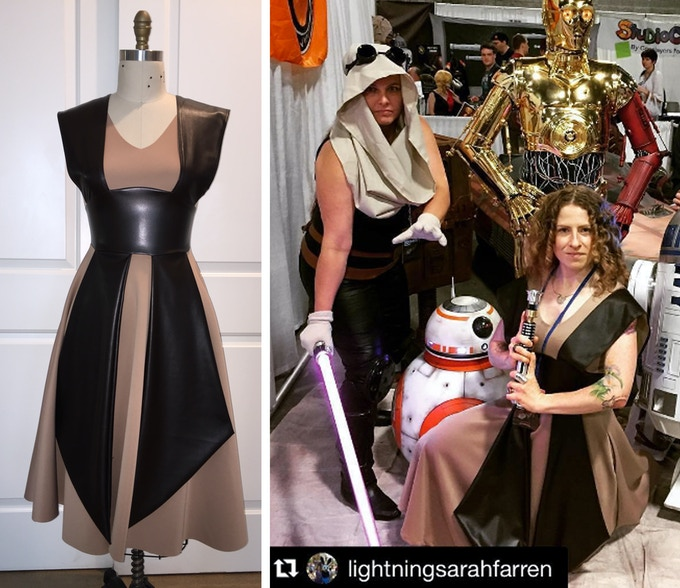 Galatic Knight Dress - Left image is the dress I created in my studio, and the right is the final dress purchased by a customer made by my factory. The dress arrived on time and as a nearly exact duplicate of the first prototype I made.