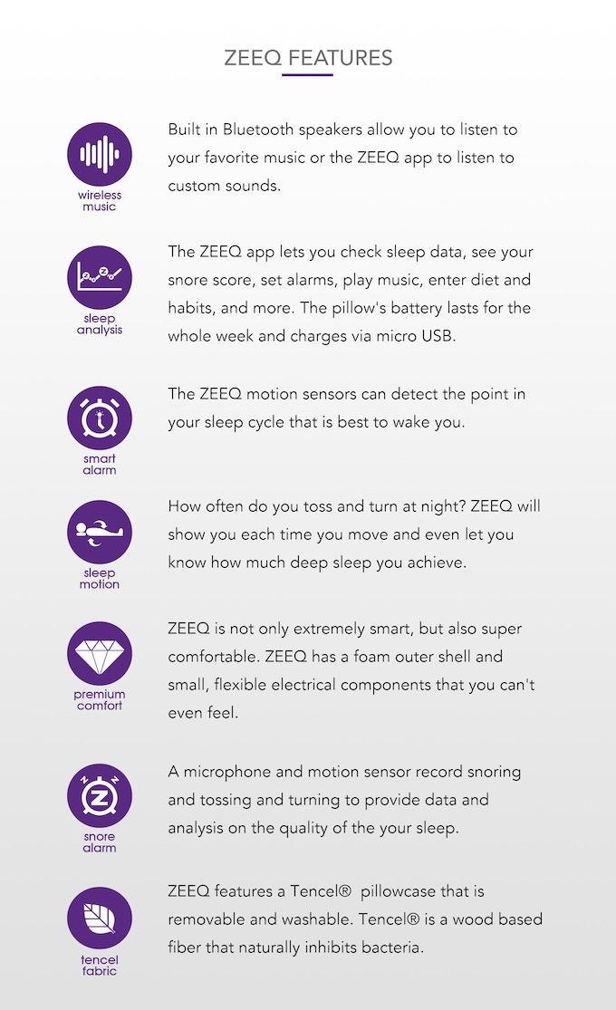 ZEEQ Smart Pillow: Stream Music, Stop Snoring, Sleep Smarter by