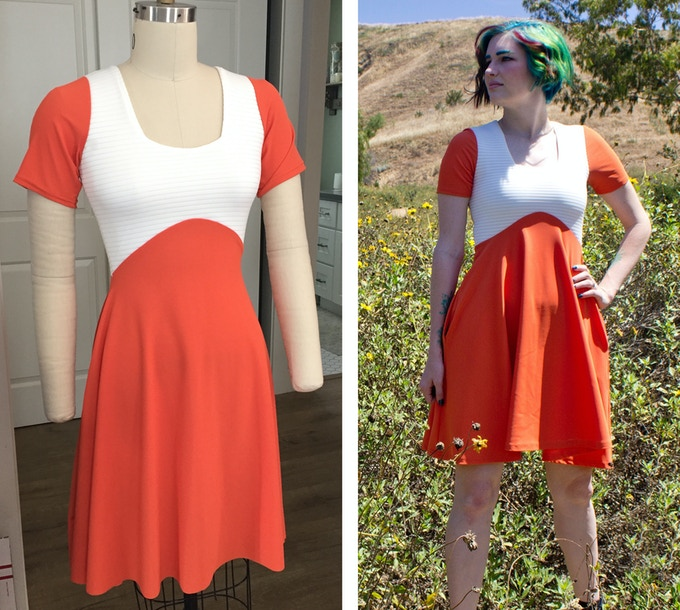 Galactic Fighter Dress - The left image is the dress I developed in my studio, and on the right is the dress my factory created. They added a finished hem, and squared the neckline for greater accuracy of finished pieces.