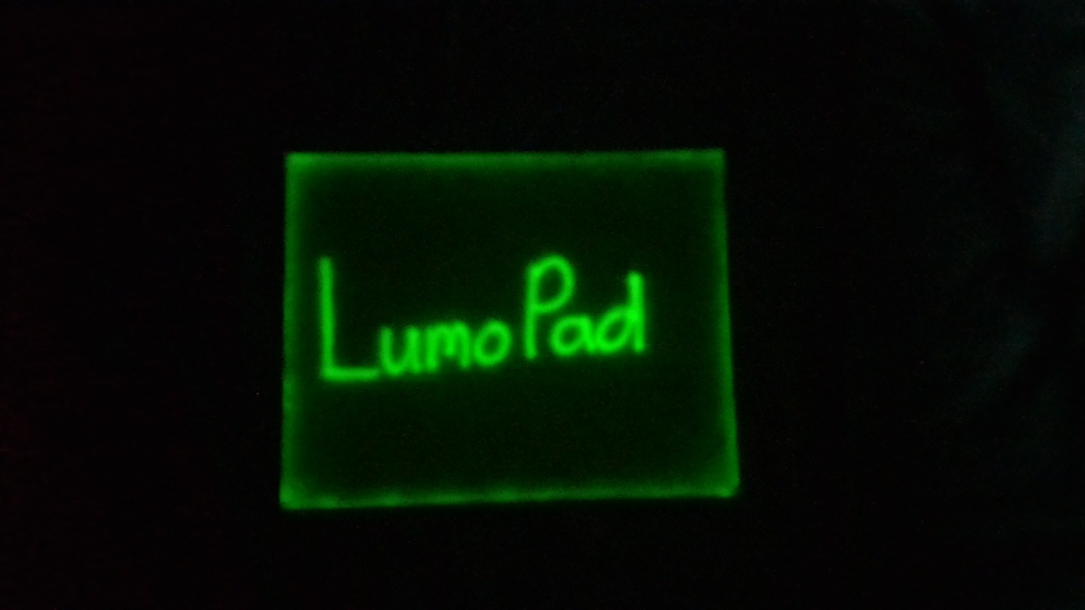 LumoPad is a glowing drawing pad for the dark consisting of only phosphorescent material and an LED.