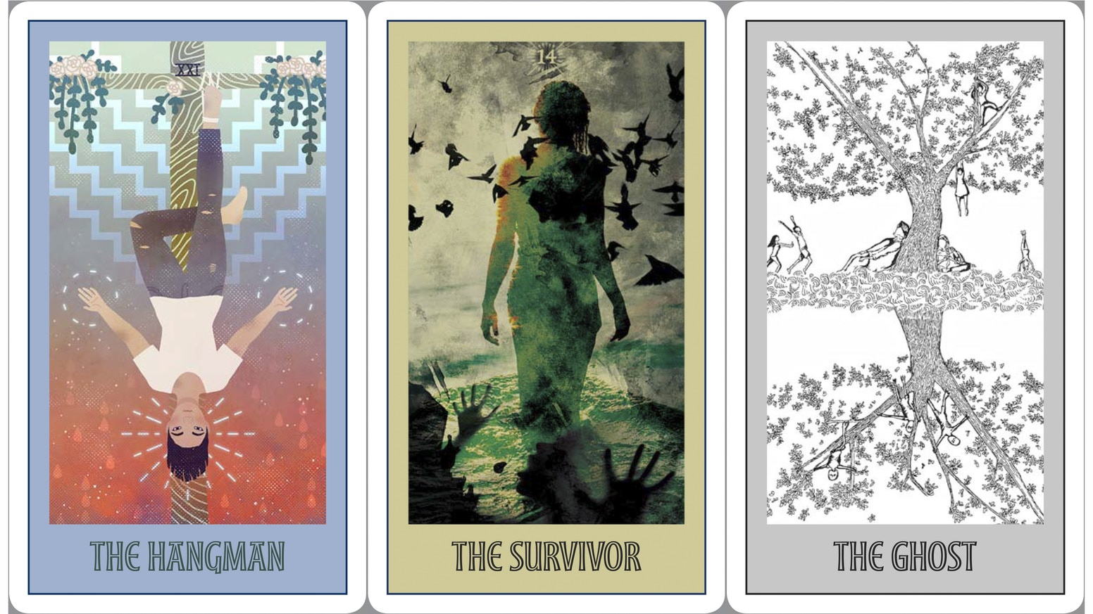 A new deck of tarot cards, featuring original art and text, revealing the hidden contours of our Asian American lives.