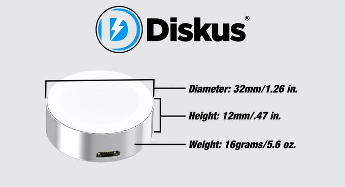 With the diameter being a little larger than a quarter, it makes it easy to carry the Diskus around in your laptop bag, purse or even your pocket.