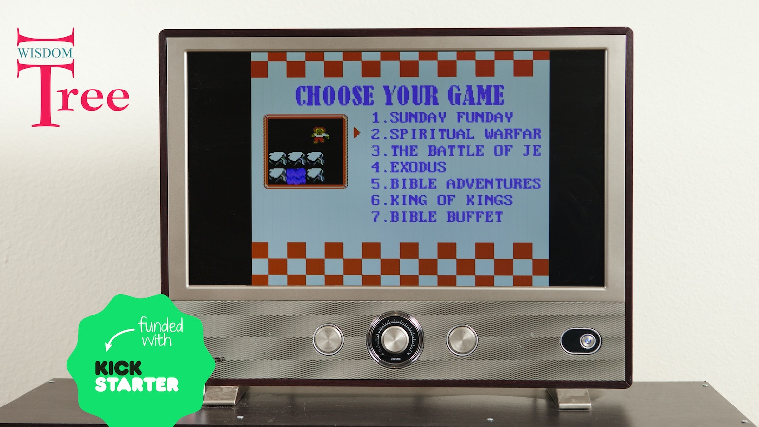 The Arkade is a Plug and Play device which bundles the classic 8 bit Christian Video Games by Wisdom Tree.