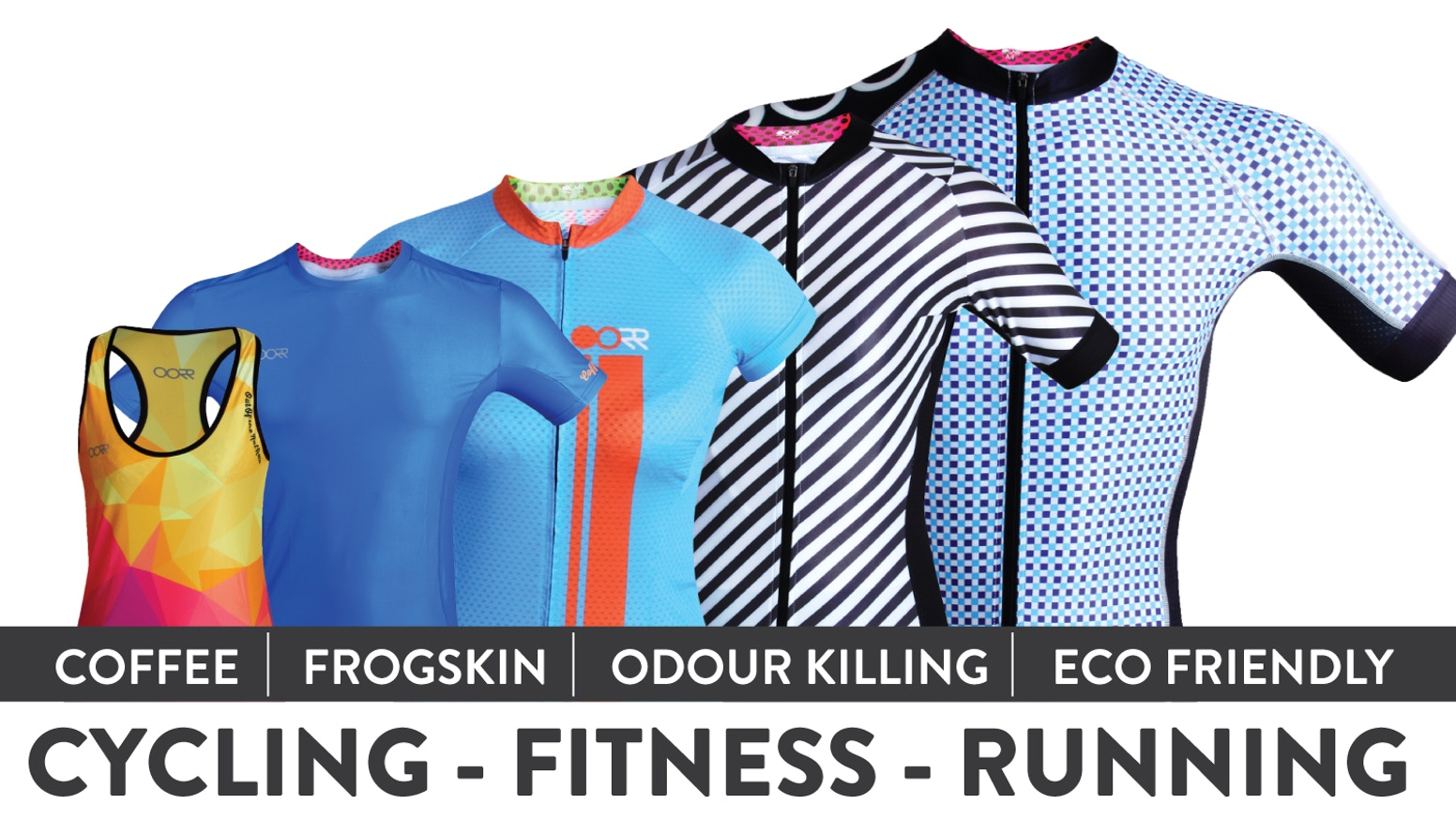 Fitness and Pro Cycling Apparel Enhanced with Coffee. Permanent Odour Control. Eco Friendly.