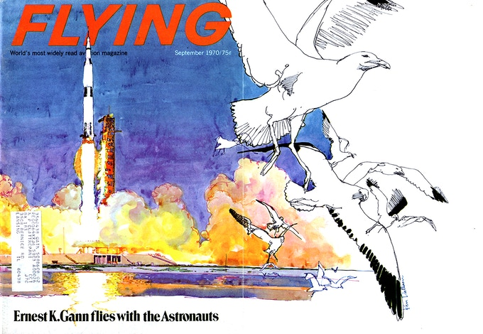 Cover of Flying Magazine by Ken Dallison c.1970