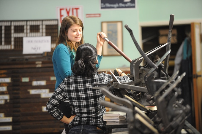 Our Studio Manager, Caitlin Harris, teaching Letterpress