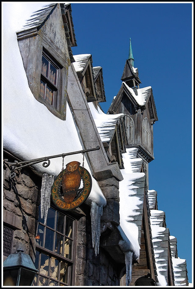 Snowy Rooftops in Summer at Hogsmeade Village