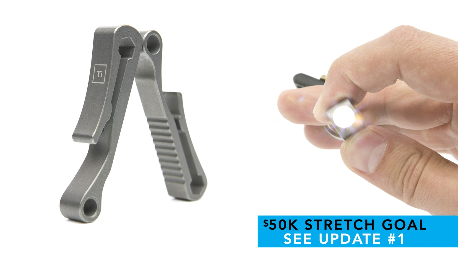 Introducing the world's 1st : Grade 5 Titanium suspension clip multi tool with a LED ( 2 versions ) + Free world wide shipping!