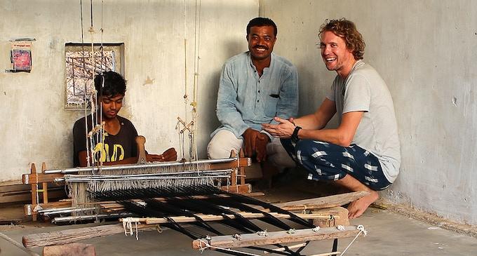 Photo left to right: Sanjay - weaving apprentice, Shamji - master weaver & Jake - founder of Ethnotek.