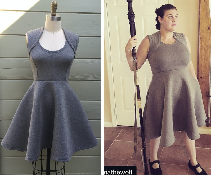 Galactic Scavenger Dress - Sample created by me on the left, and final product on right!
