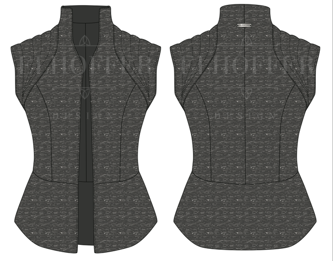 Flat Sketch of the Vest that the factory will use to develop the pattern