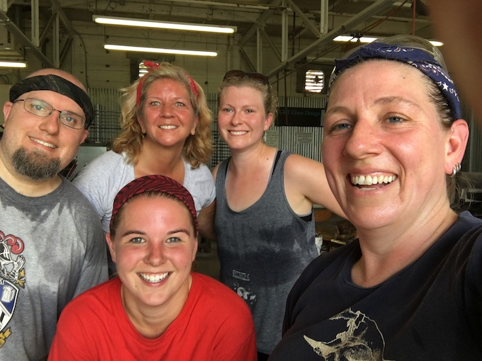 the BCGC crew loving it on a hot day of blowing glass!