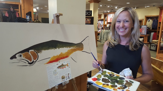 Public Painting by Karen at the Orvis Flagship Store in Manchester, Vermont