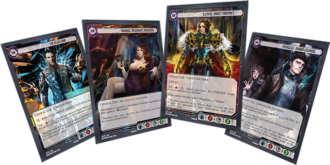 The four founders are Starter Deck exclusive and will not be reprinted. The booster stretch goal will unlock four more founders!