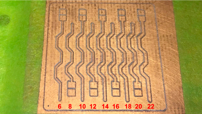 A PCB cut with the FR4.