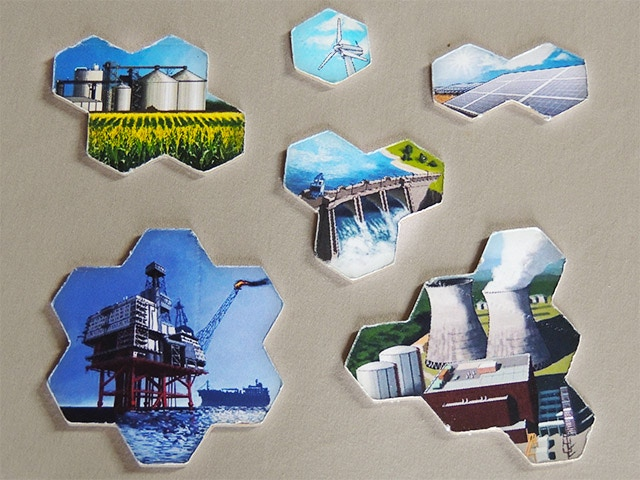 Row 1: Biofuel, Wind, Solar. Row 2: Hydroelectric. Row 3: Fossil Fuel, Nuclear. Picture shows prototype pieces, but the real versions will obviously be more polished. Printing on both sides AND linen finish is a stretch goal.