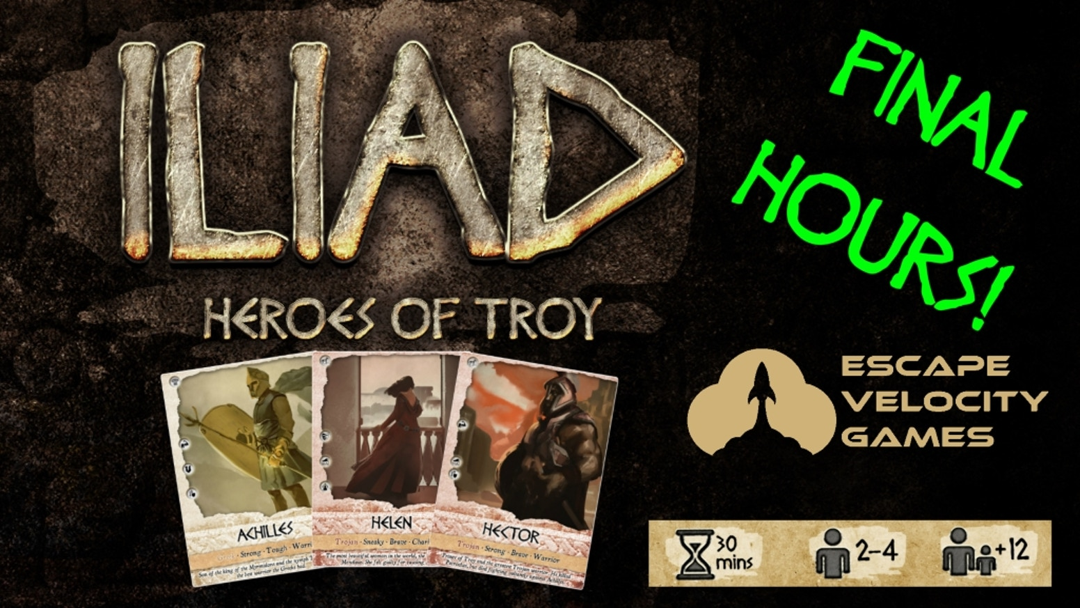 Iliad: Heroes of Troy is a simple, yet surprisingly deep, card game based on the epic poem by Homer! For 2-4 players in about 30 mins.