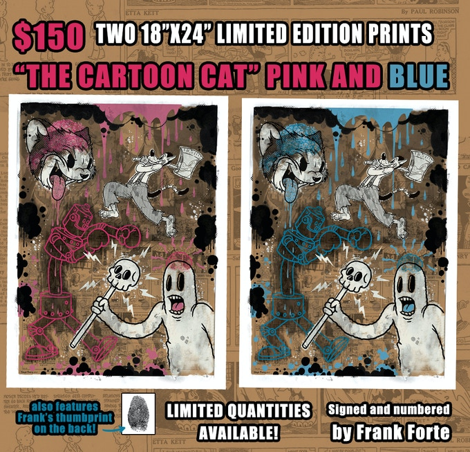 TWO CARTOON CAT PRINTS ( PINK AND BLUE)