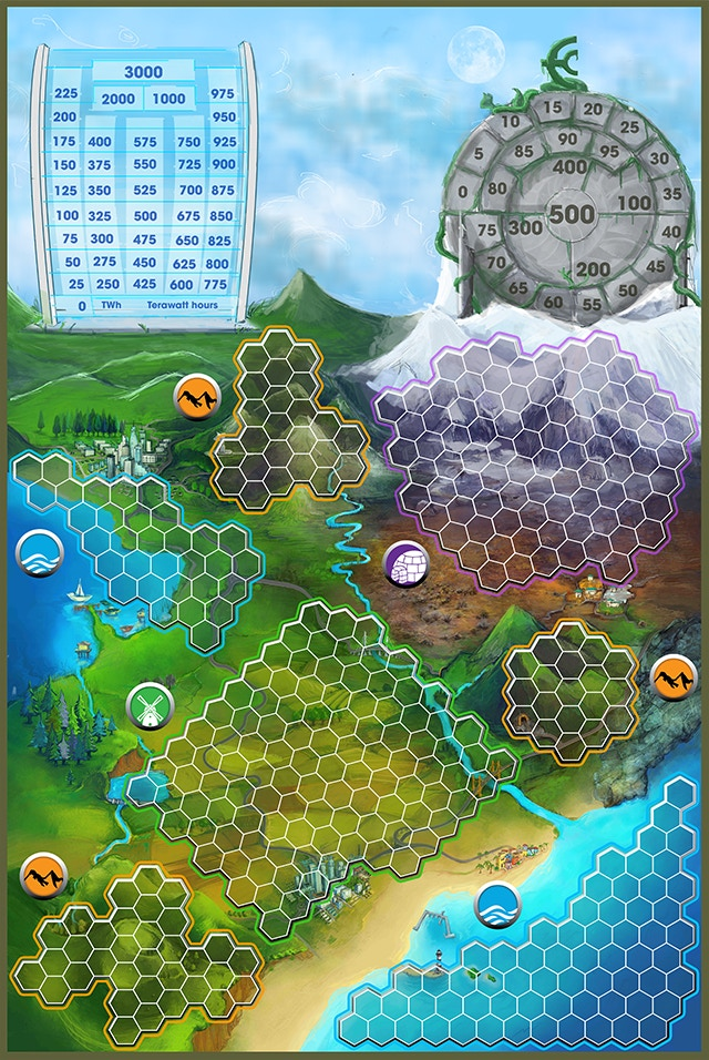 """Game Board, 23"""" x 34.5"""" (584mm x 876mm). Linen finish is a stretch goal. PLUS commissioning art for an alternate method of play is also a stretch goal!"""