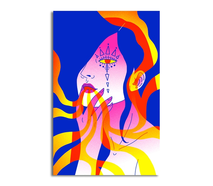 Risograph POSTER of illustration by Hanna Lefcourt (final poster will have album title).