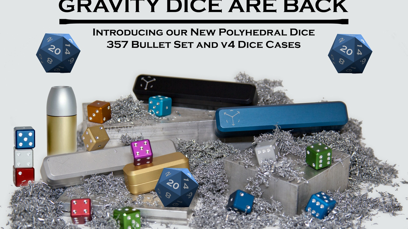 Precision Aluminum Gaming Dice. Featuring Polyhedral Dice,  357 Bullet Case and our new v4 cases. D20, D10, D8 Dungeons and Dragons