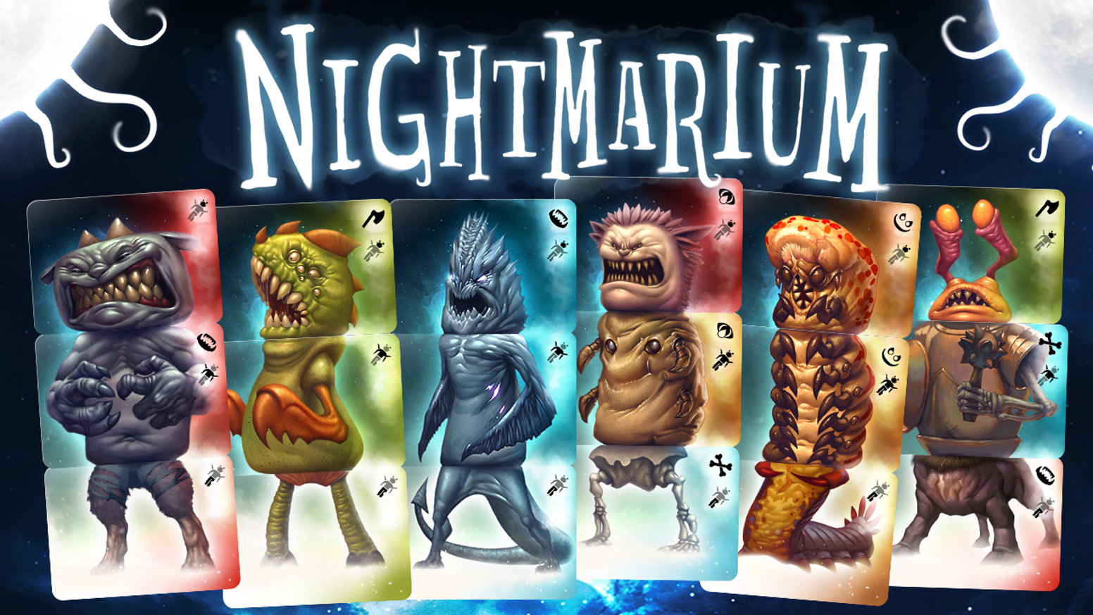 Nightmarium - a game about assembling nightmarish monsters for 2-5 players 10+. Quick, easy to learn, and full of tactical decisions