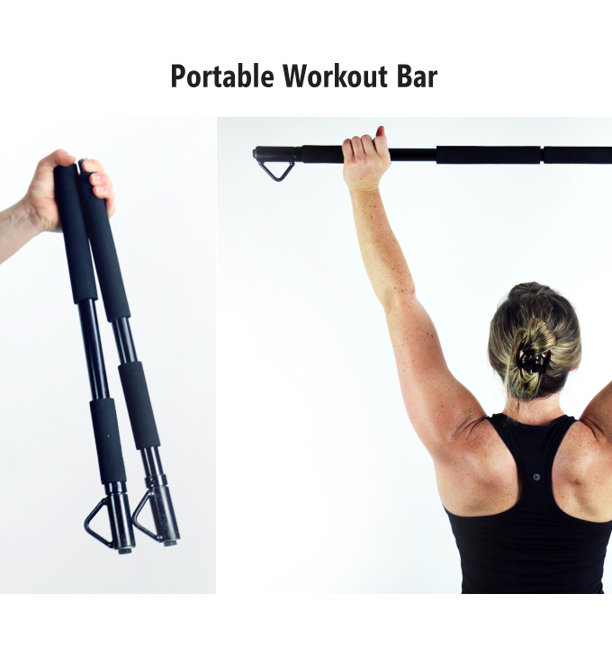 it's like a workout bar you see at the gym, just more portable