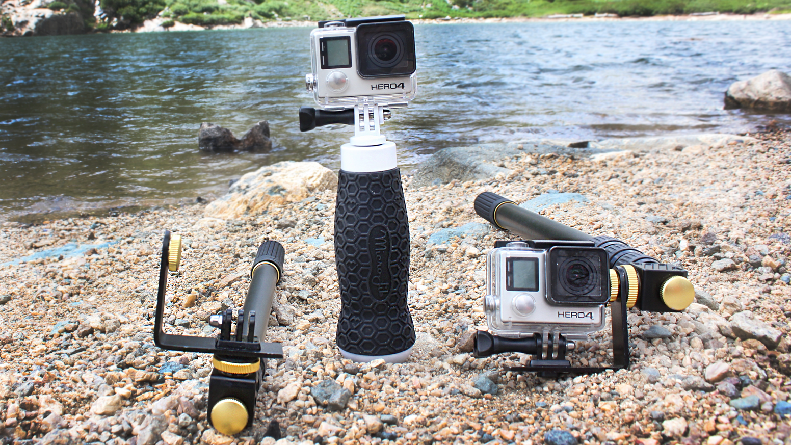 Pan +Tilt your GoPro 360° with MicroJib 2. Go big with the MJ XL! Get wet with the Flow -the only extendable hand grip that floats!