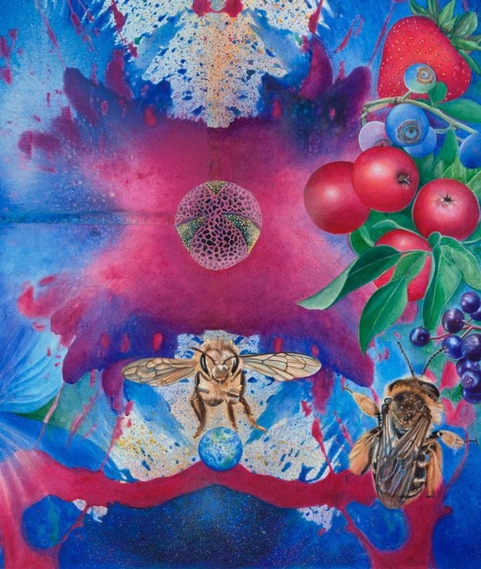 Detail of MELISSAE: PROGENITOR OF LIFE, a wildlife thangka by Rama the Elephant and Calley O'Neill, a visual prayer for the regeneration of native and honey bees worldwide.