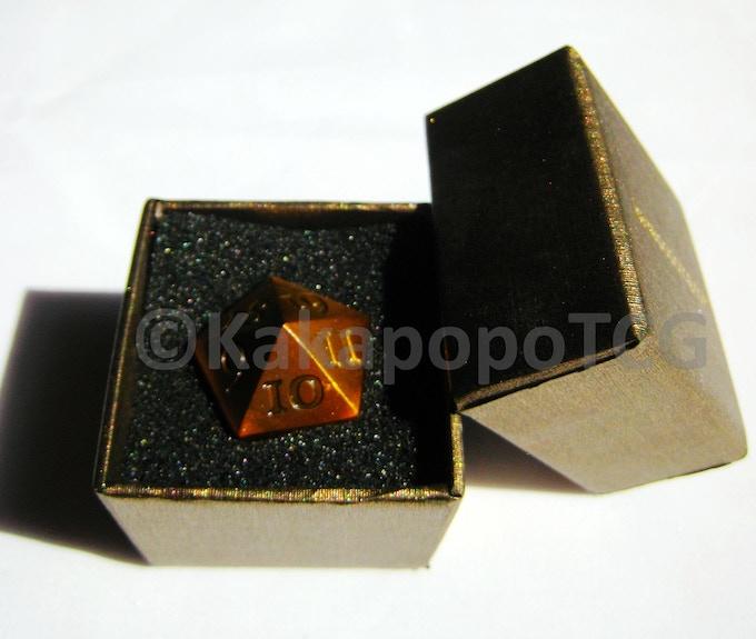 Prototype Golden Dice in Prototype Packaging