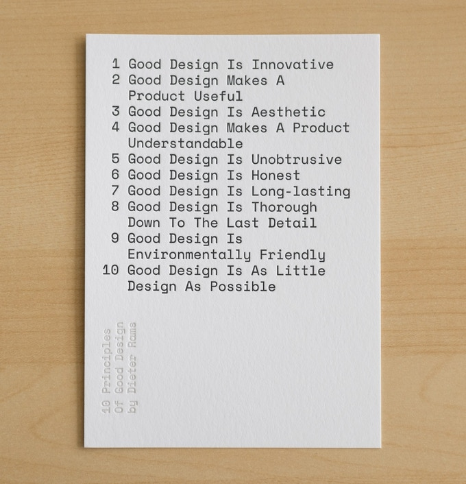 """""""10 Principles of Good Design"""" 5""""x7"""" letterpress print, only available during this Kickstarter. There's a larger 16.5"""" x 23"""" version too."""