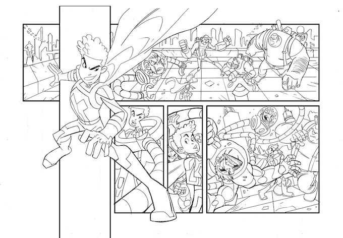 HYPERBOY Pg 2 Line art by Jerry Gaylord