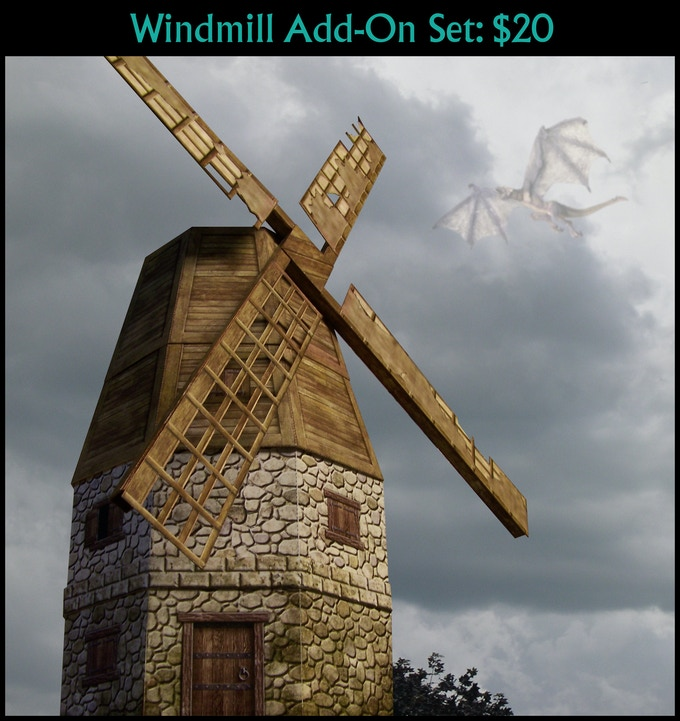 Cardboard mockup of the windmill add-on set (final design subject to change).