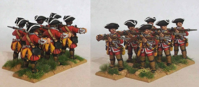 Front and back views of pack SYW/FIW B1 British Line Infantry Hat Company – Charge Your Bayonet