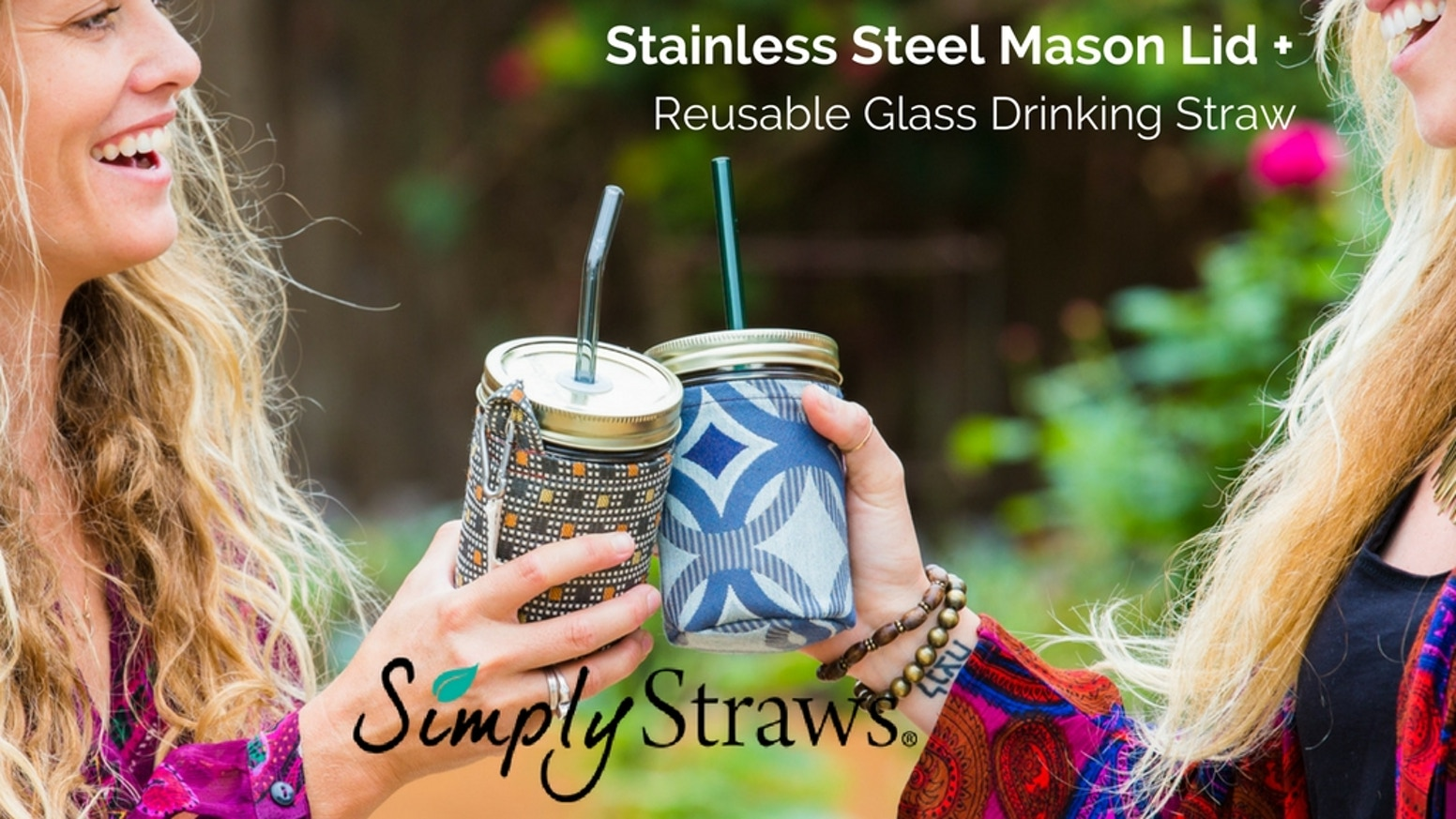 Sip your favorite beverages w/our reusable glass drinking straw & spill-free, rust-free, stainless steel, patent-pending mason jar lid!