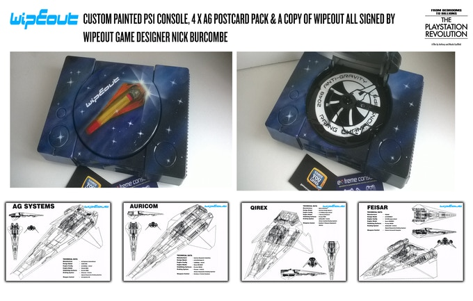 Custom Painted WIPEOUT PS1 + dev art signed by Nick Burcombe
