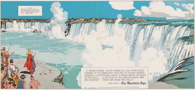June 22, 1947: Val in the New World. Foster's vision of Niagra Falls 1500 years ago.