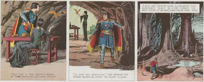 April 23, 1939: Prince Valiant enters the Cave of Time.