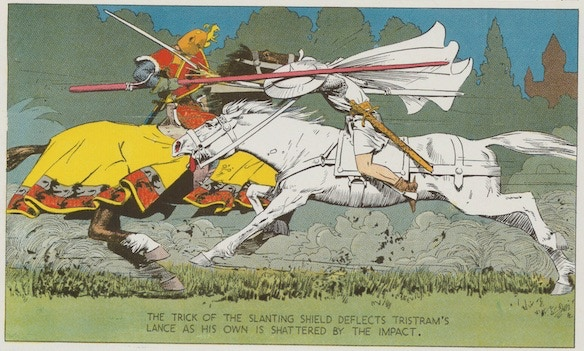 October 16, 1938: Sir Tristram jousts Val disguised as the White Knight.