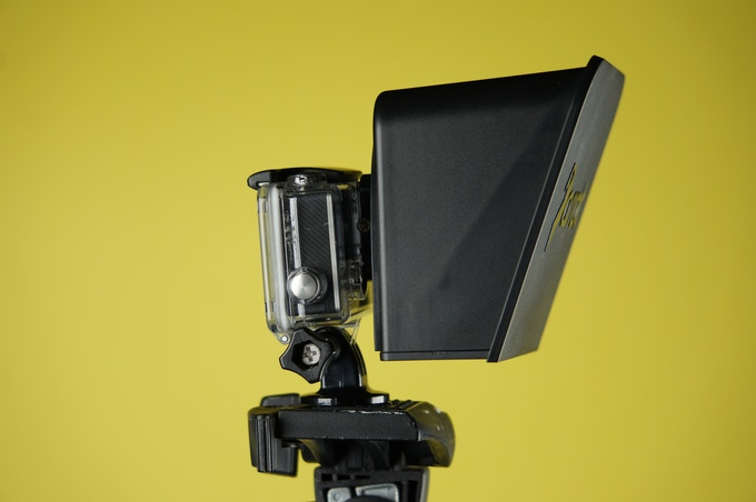 Teleprompter mounted on a GoPro